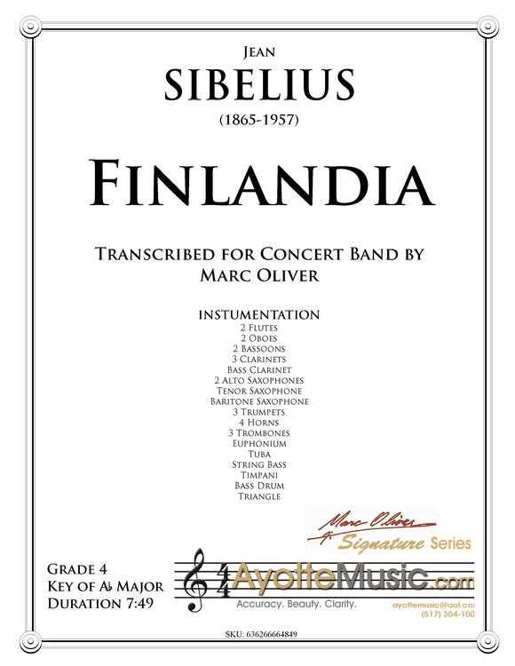 Sibelius - Finlandia (Digital PDF Download), arr  Marc Oliver