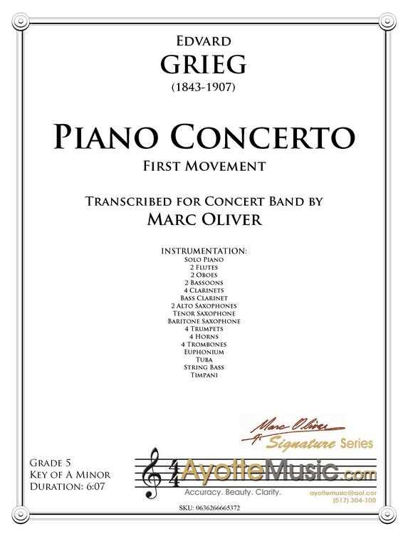 Grieg - Piano Concerto, First Movement (Digital PDF Download