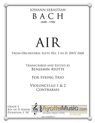 Bach - Air from Orchestral Suite No. 3 in D (CCB Trio) (Digital PDF Download)
