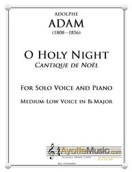 Adam - O Holy Night / Cantique de Noel for Medium Low Voice in Bb Major (Digital PDF Download)