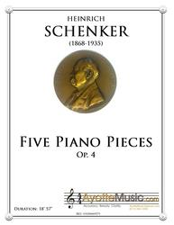 Schenker - Five Piano Piecesa, op. 4 (Digital PDF Download)