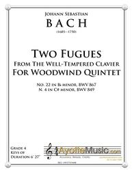 Bach - Two Fugues for Woodwind Quintet (Digital PDF Download)