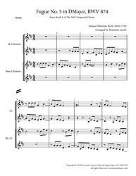 Fugue No. 5 in D Major (WTC Book 2) for Clarinet Quartet